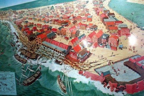 Gambaran Port Royal yang dilanda gempa bumi dan tsunami yang dashyat.
